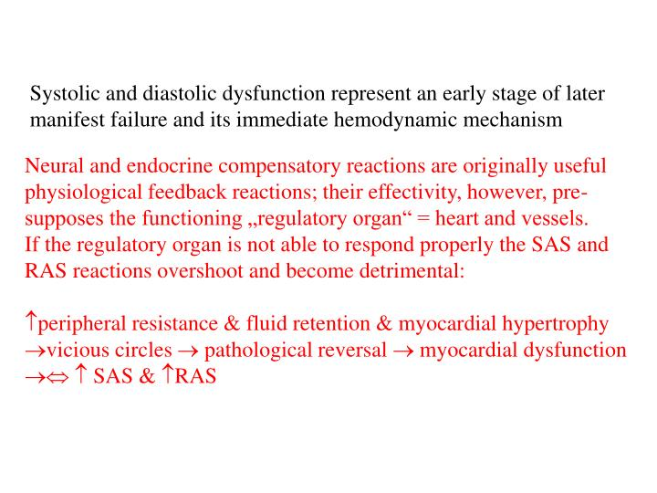 Systolic and diastolic dysfunction represent an early stage of later