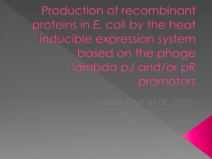 Production of recombinant proteins in