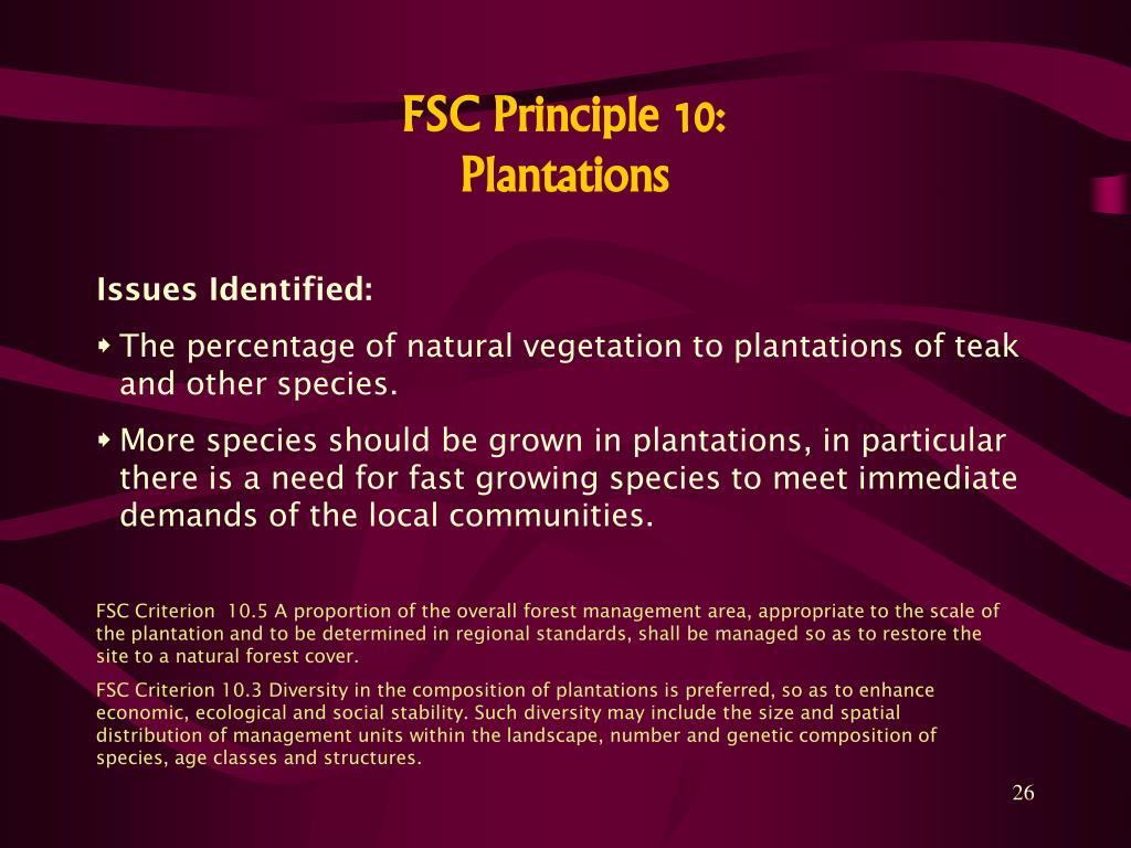 FSC Principle 10: