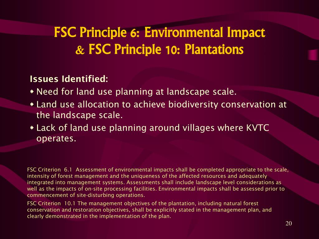 FSC Principle 6: Environmental Impact