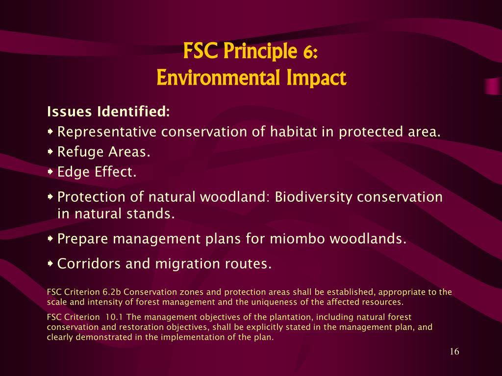 FSC Principle 6: