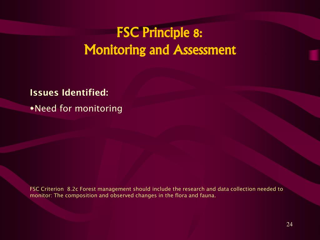 FSC Principle 8: