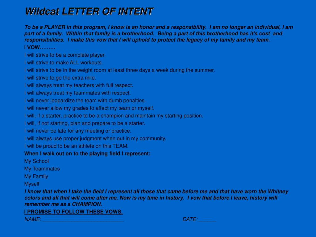 Wildcat LETTER OF INTENT
