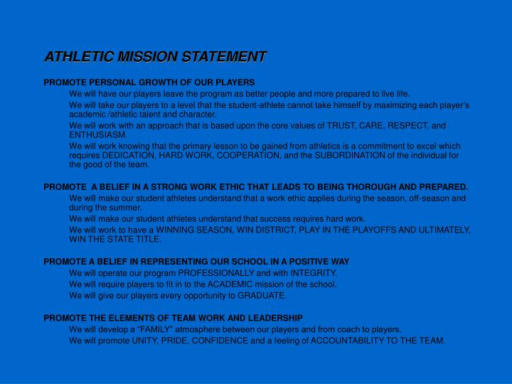 ATHLETIC MISSION STATEMENT