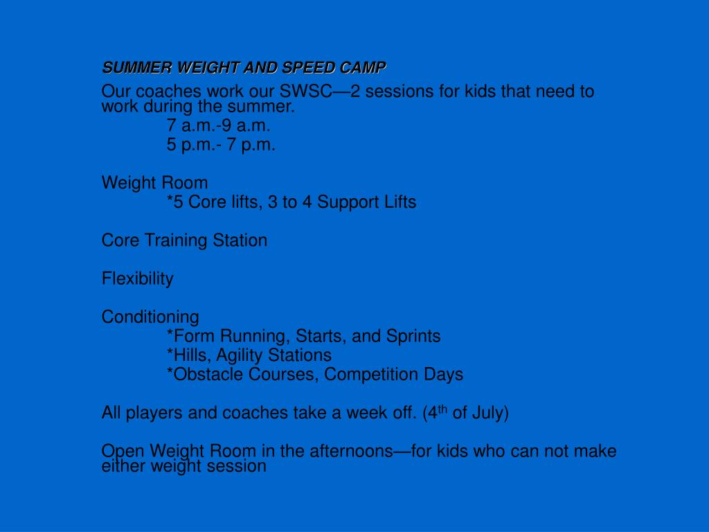 SUMMER WEIGHT AND SPEED CAMP