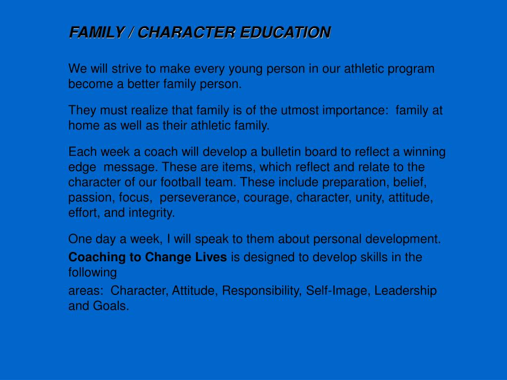 FAMILY / CHARACTER EDUCATION