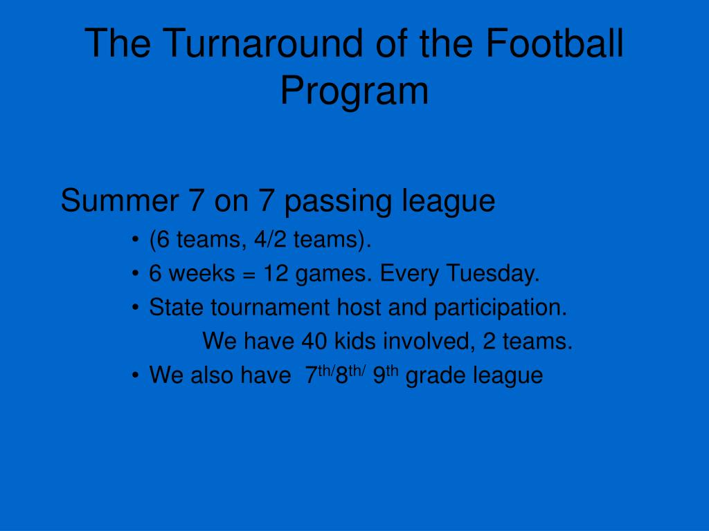 The Turnaround of the Football Program
