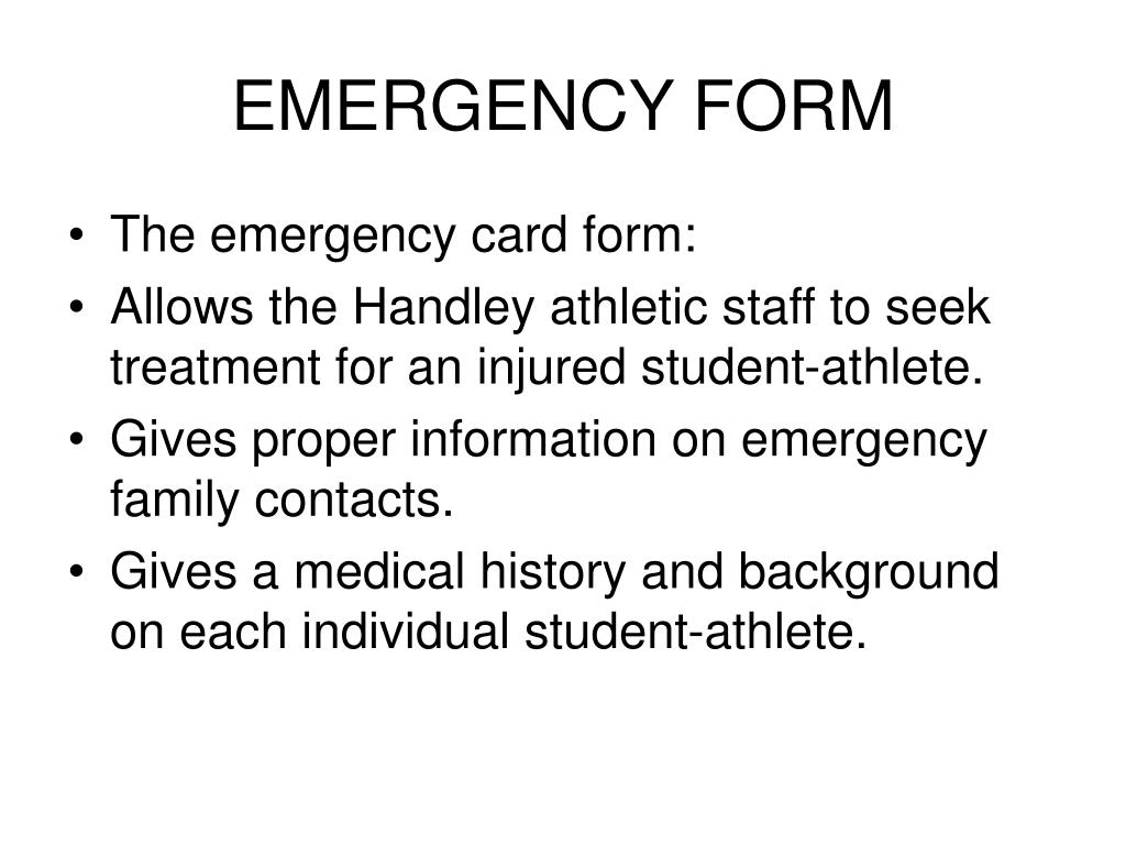 EMERGENCY FORM