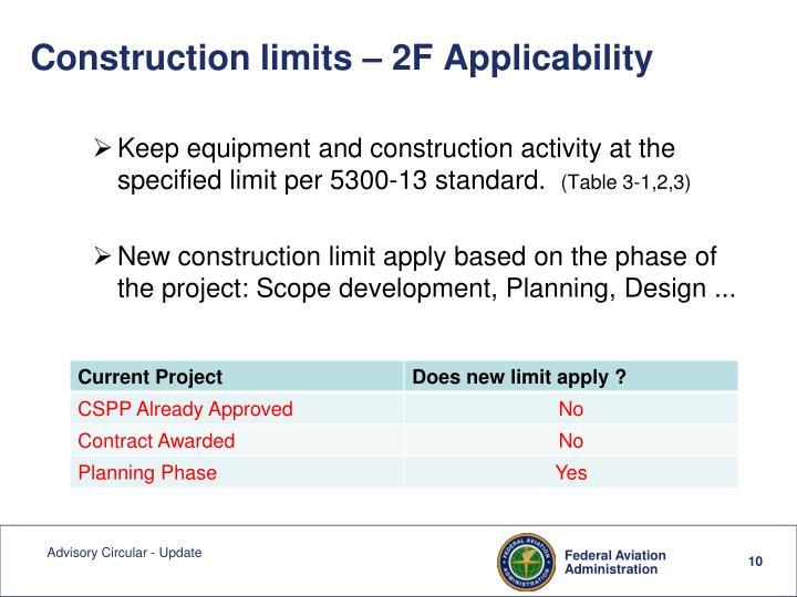 Construction limits – 2F Applicability