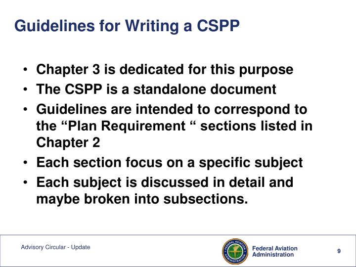 Guidelines for Writing a CSPP