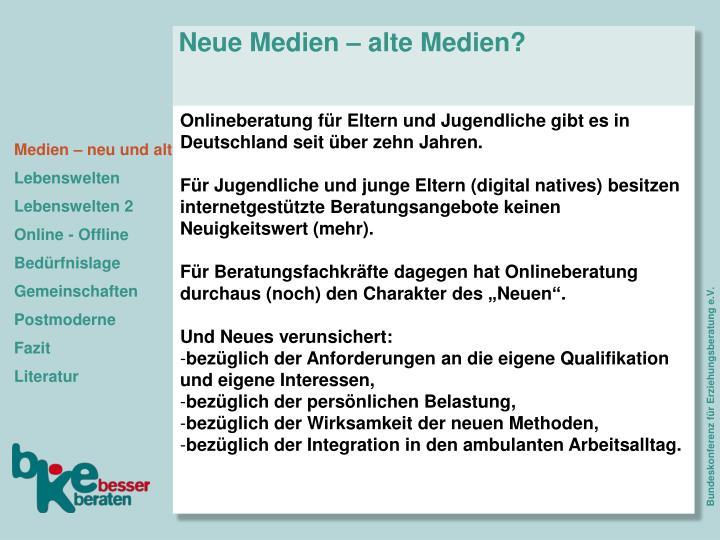 Neue Medien – alte Medien?