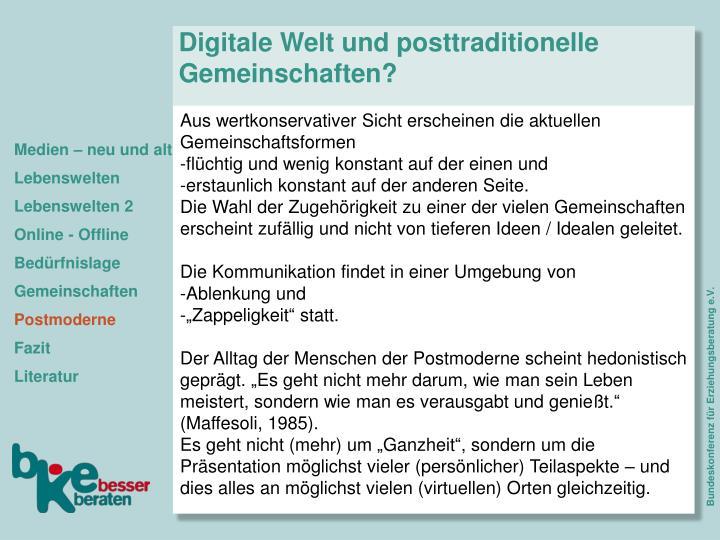 Digitale Welt und posttraditionelle Gemeinschaften?
