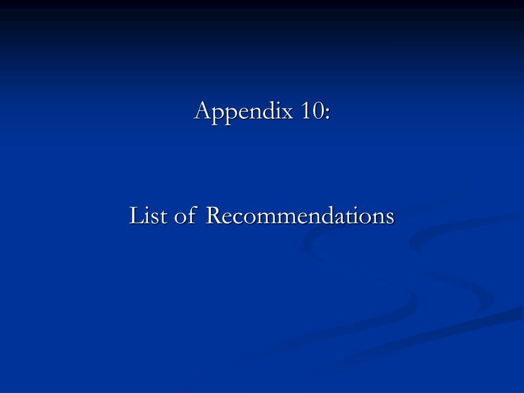 Appendix 10: