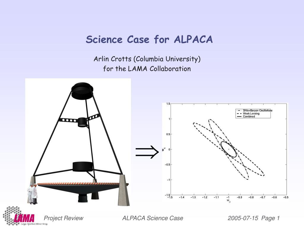 science case for alpaca l.