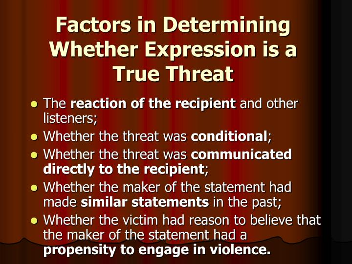 Factors in Determining Whether Expression is a True Threat