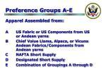 preference groups a e
