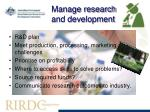 manage research and development