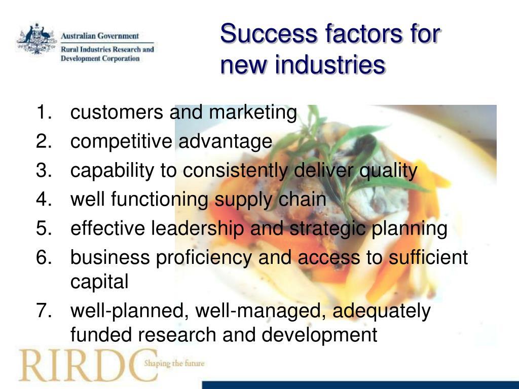 Success factors for new industries
