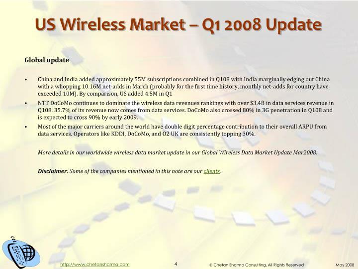 US Wireless Market – Q1 2008 Update