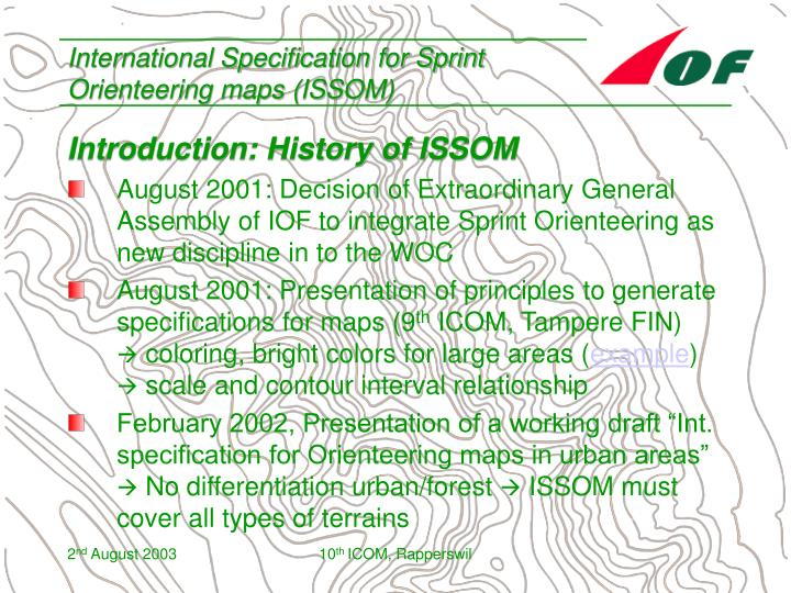 International specification for sprint orienteering maps issom2