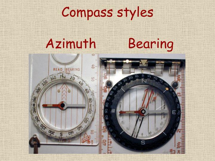 Compass styles azimuth bearing