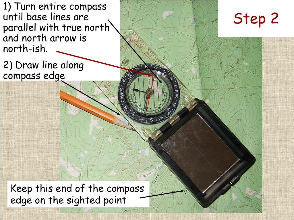 1) Turn entire compass until base lines are parallel with true north and north arrow is north-ish.