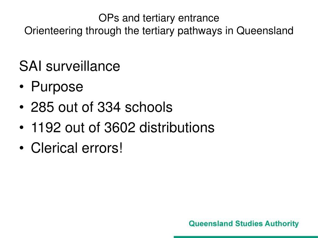 OPs and tertiary entrance