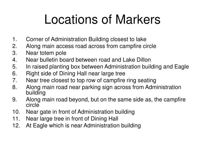 Locations of markers