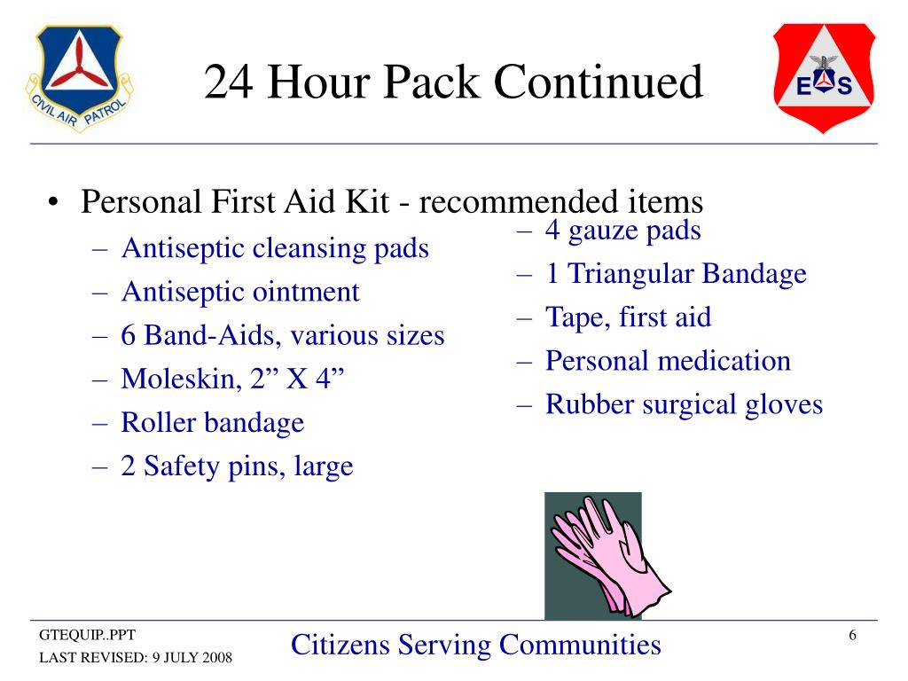 Personal First Aid Kit - recommended items