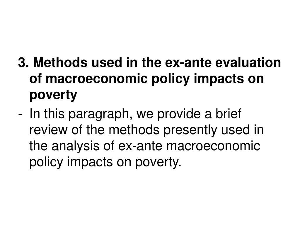 3. Methods used in the ex-ante evaluation of macroeconomic policy impacts on poverty