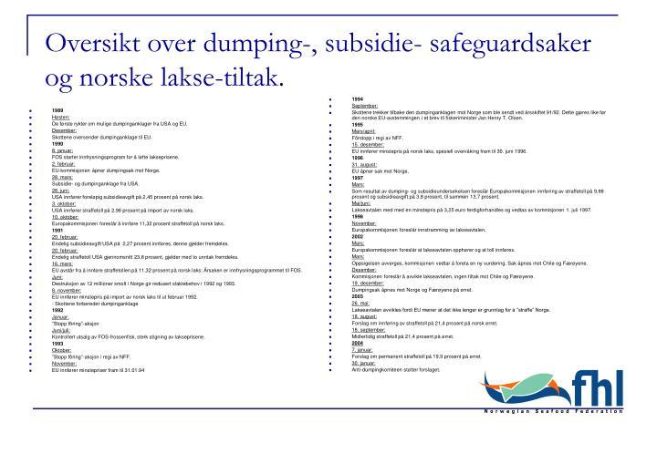 Oversikt over dumping subsidie safeguardsaker og norske lakse tiltak