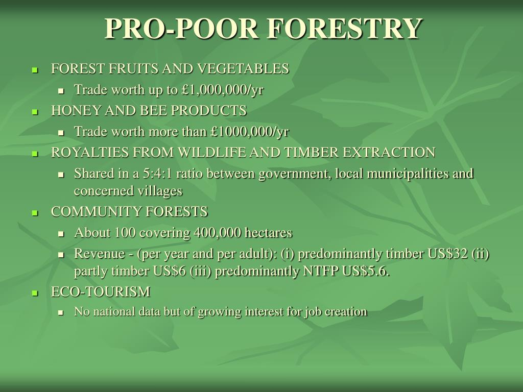 PRO-POOR FORESTRY