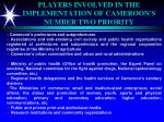 players involved in the implementation of cameroon s number two priority