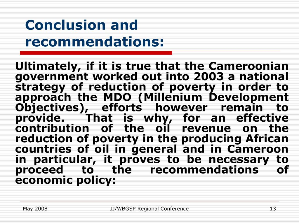Conclusion and recommendations: