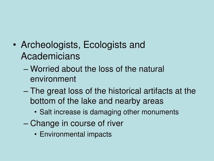 Archeologists, Ecologists and Academicians