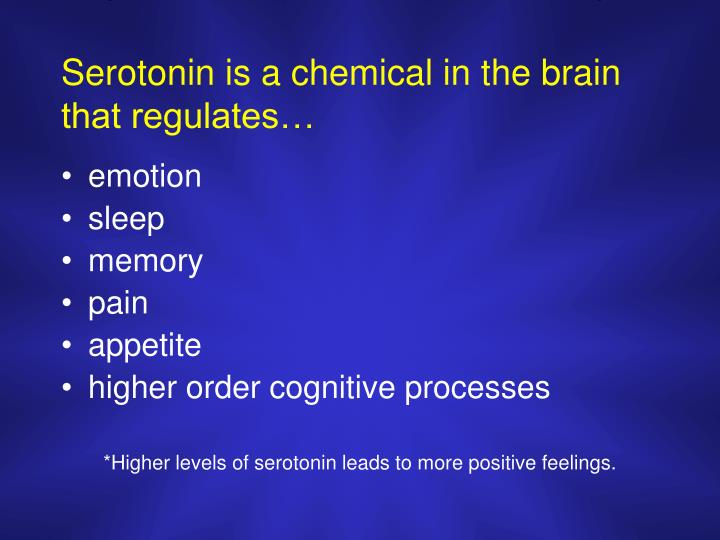 Serotonin is a chemical in the brain that regulates…
