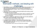 estimation methods and dealing with challenges