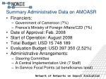 summary administrative data on amoasr