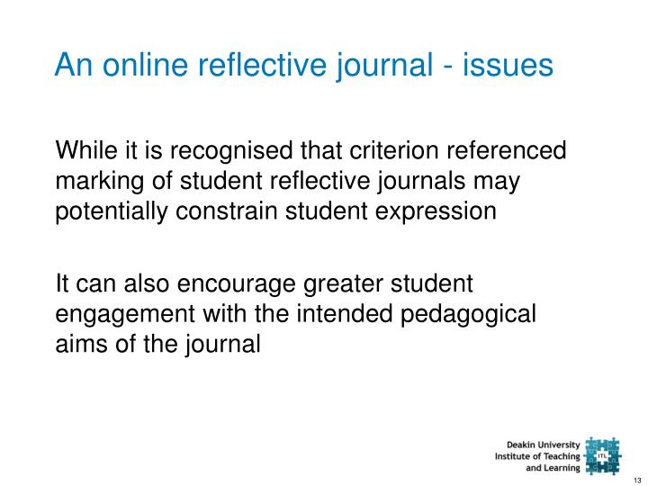 an online reflective journal issues