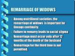 remarriage of widows