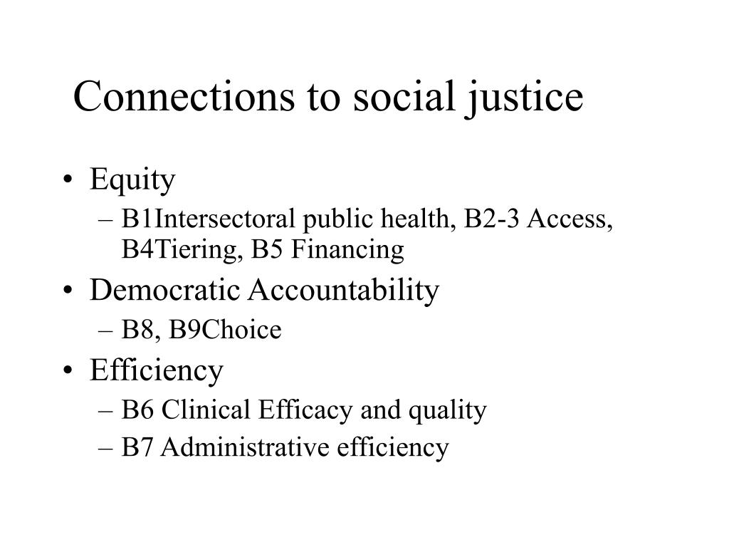 Connections to social justice