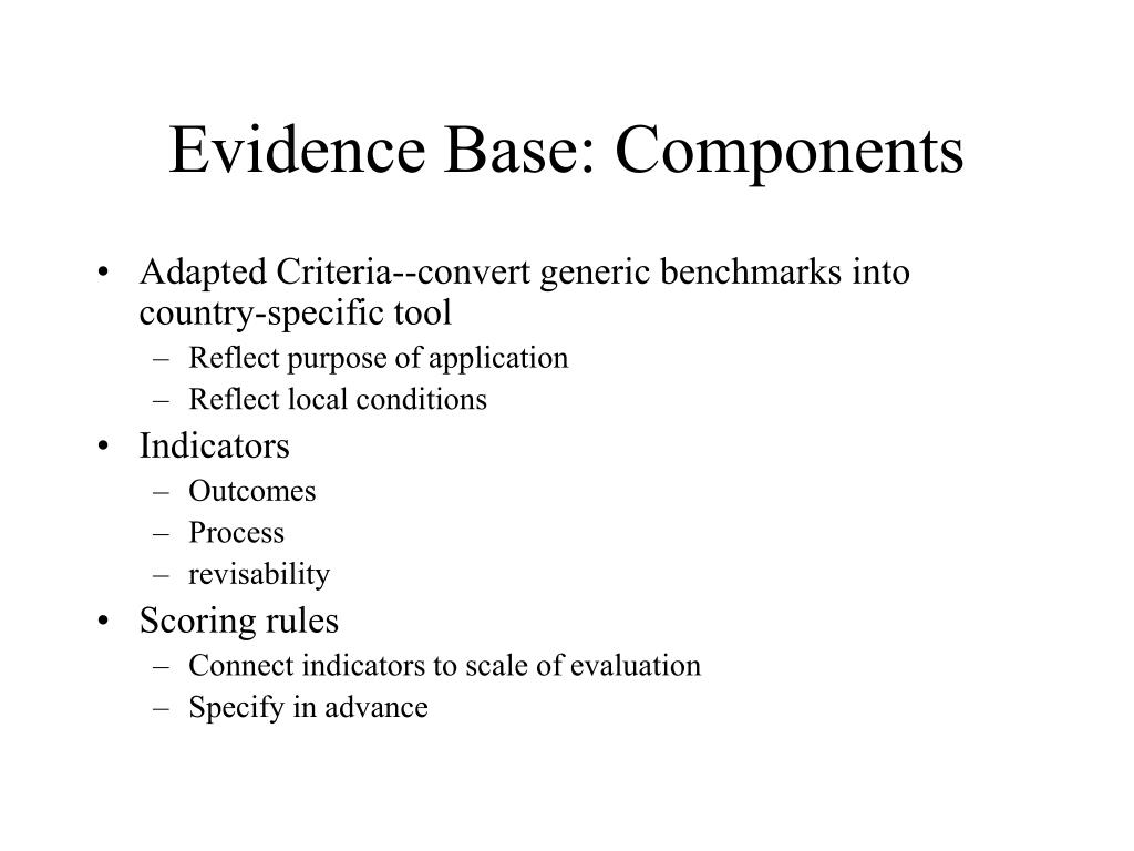 Evidence Base: Components
