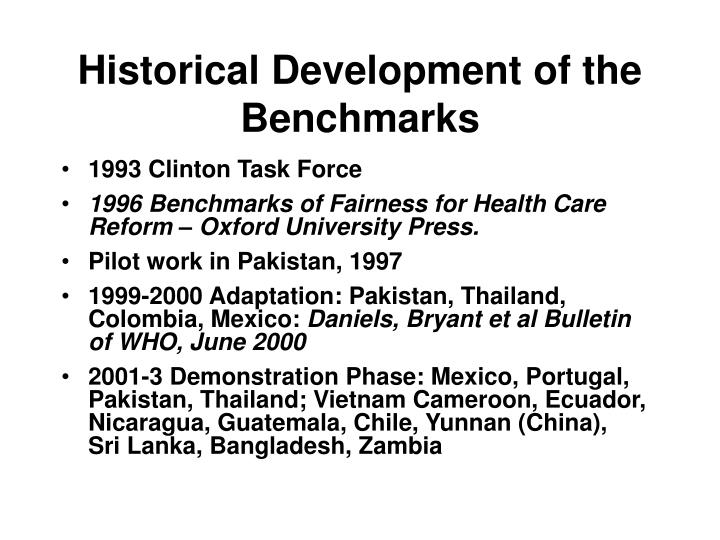 Historical development of the benchmarks