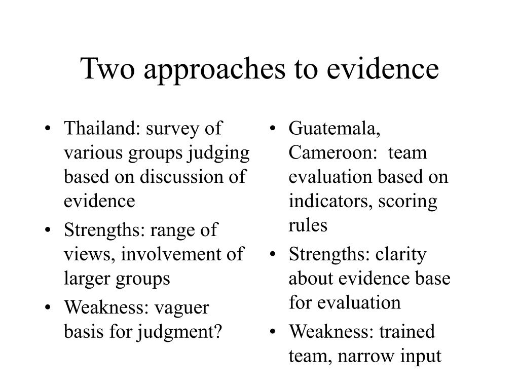 Thailand: survey of various groups judging based on discussion of evidence