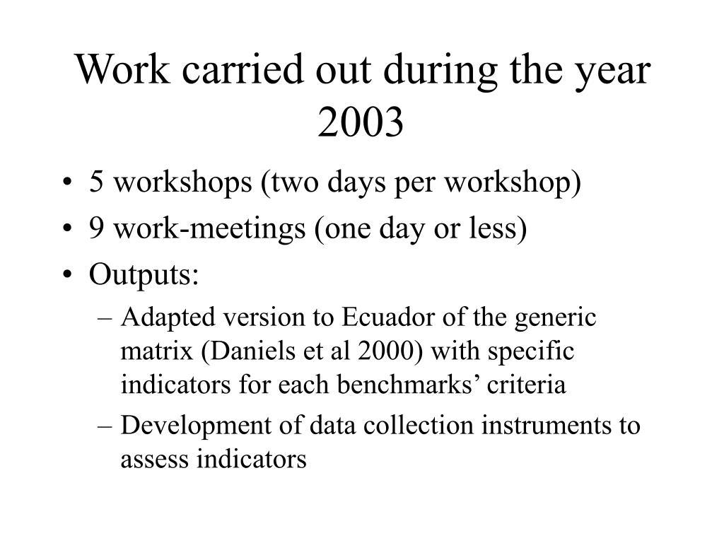 Work carried out during the year 2003