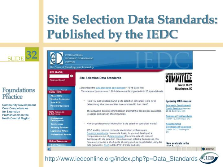 Site Selection Data Standards: