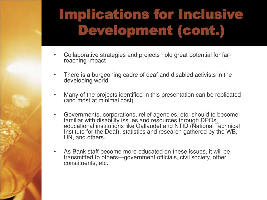 Implications for Inclusive Development (cont.)