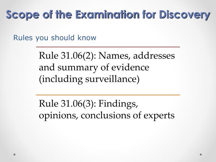 Scope of the Examination