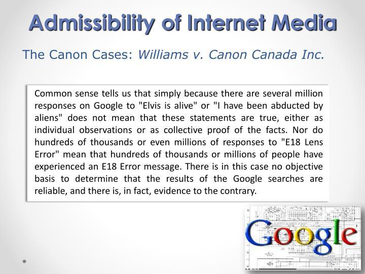 Admissibility of Internet Media