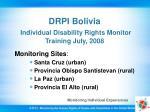 drpi bolivia individual disability rights monitor training july 2008